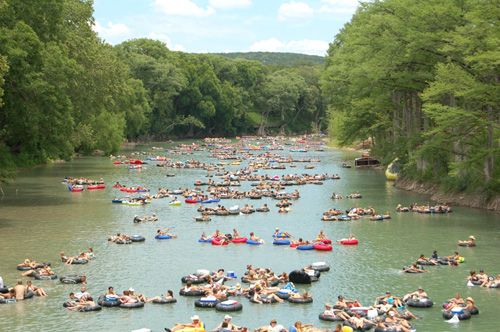 "Photo of the famous ""Horseshoe Loop"" section of the Guadalupe River near Tube Haus who specializes in Tube Rentals for Guadalupe River Tubing in Canyon Lake, Texas"